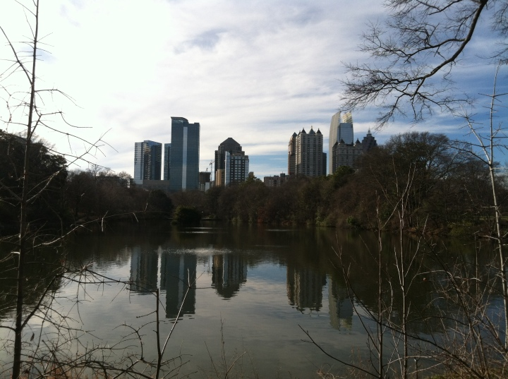 The Atlanta skyline as seen from Piedmont Park.