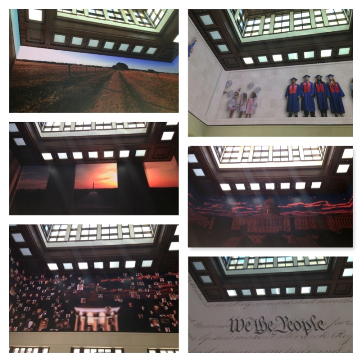 A couple of snapshots of the projection that played out the story of George W. Bush's presidency at his library.