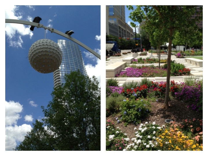Dallas' Klyde Warren Park is full of beautiful flowers and landscaping, as well as sculpture and other art installations.