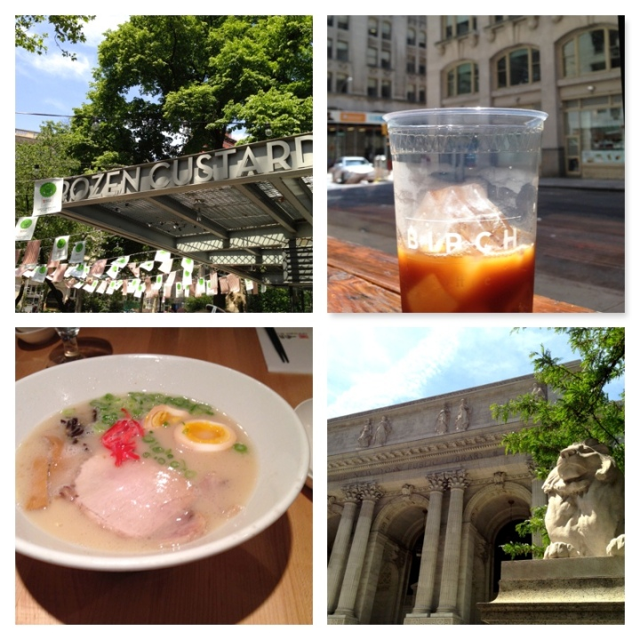 From left to right: the Madison Square Park Shake Shack, cold brew from Birch Coffee, ramen from Ippudo West, and the New York Public Library.  All photos © Kaitlin Throgmorton Photography 2014.