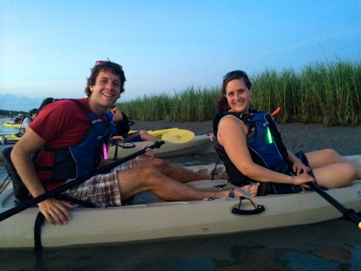 My husband and I kayaking with Charleston Outdoor Adventures for the Fourth of July in Charleston.