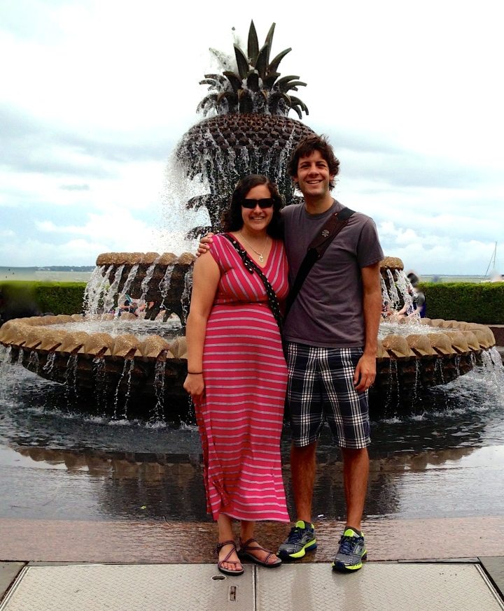 Andy and Kaitlin in front of the pineapple water fountain in Waterfront Park, Charleston.