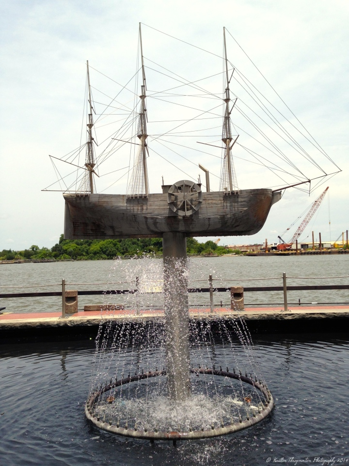 A ship sculpture along River Street and the Savannah River.