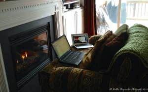 Writing by the fire last year.