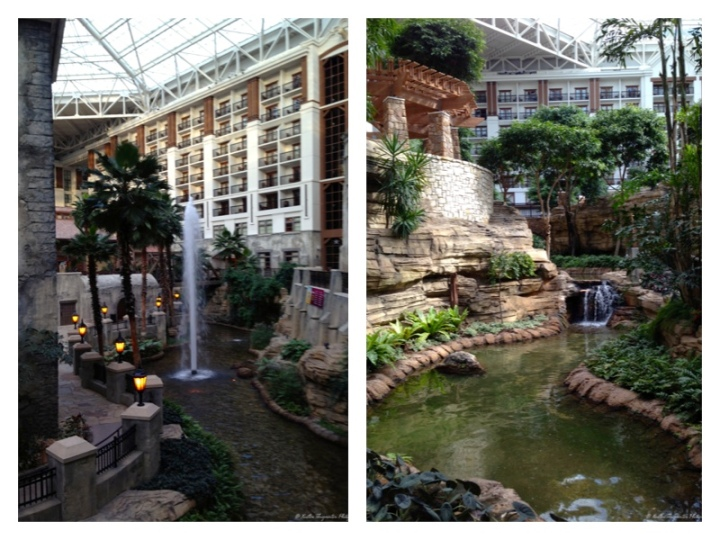The winding paths of the Gaylord Texan's atrium.