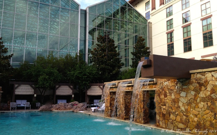 The sparkling outdoor pool at the Gaylord Texan in Dallas.