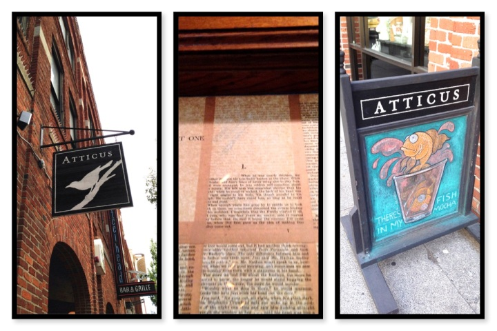 Atticus coffee signage and pages of To Kill a Mockingbird.