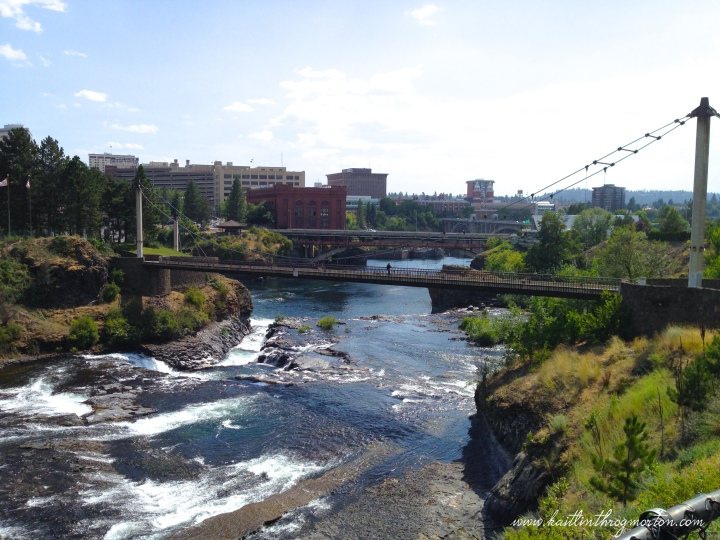 One side of Spokane Falls as seen from Riverfront Park.