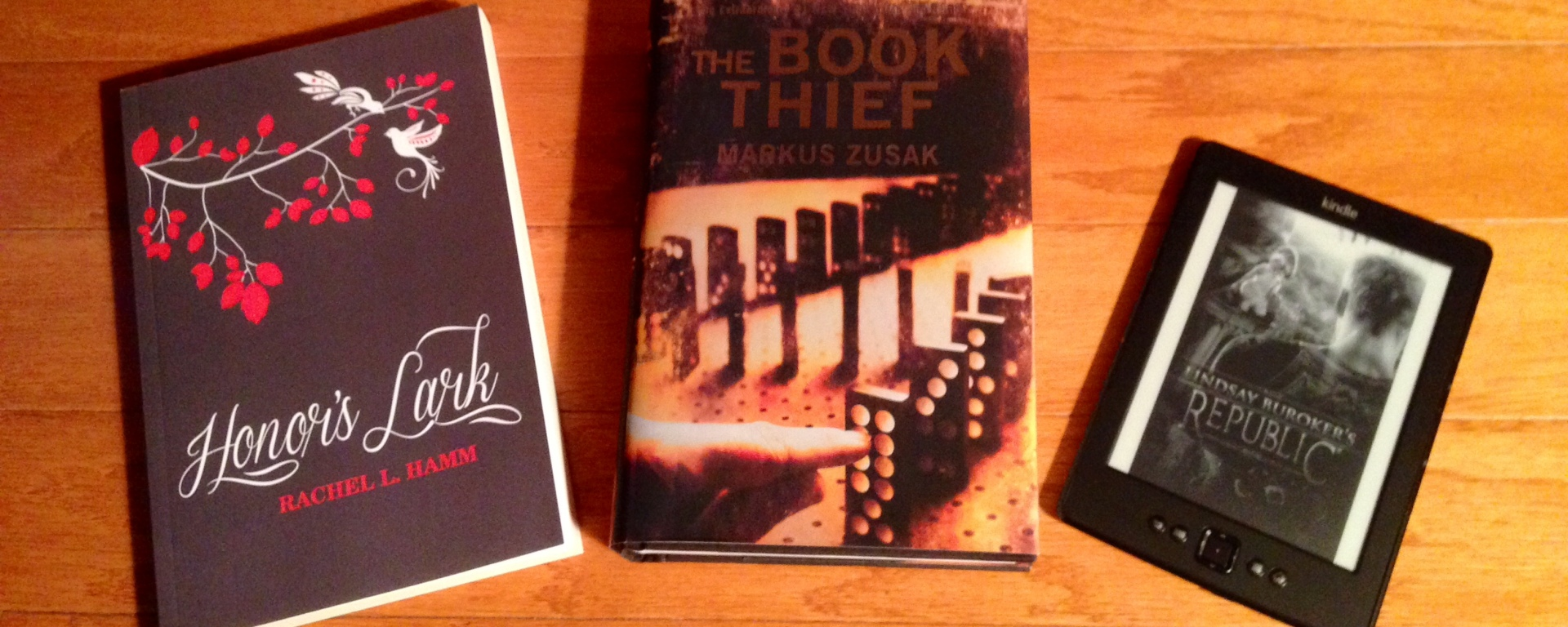 Three books I loved in 2014: Honor's Lark, The Book Thief, and Republic.