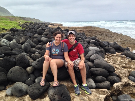 My husband and I resting on some rocks at Ka'ena. All photos © 2015 Kaitlin Throgmorton.