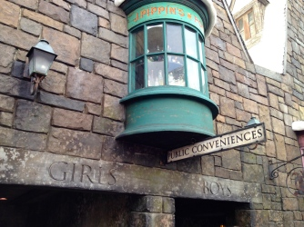 When you use the bathrooms in Hogsmeade, or at least when you use the women's bathrooms, you might encounter Moaning Myrtle.