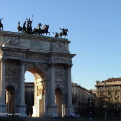 At the end of the park stands the Arco delle Pace (Arch of Peace). It is one of many gates into the city, and marked the start of a road that led from Milan to Paris, which it still does today.