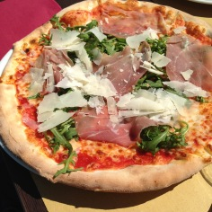 We ate canal-side at a restaurant called Luna Rossa. My husband ordered this delicious prosciutto, parmesan, and arugula pizza.