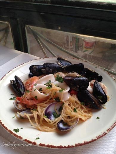 Eating Seafood Pasta in Manarola