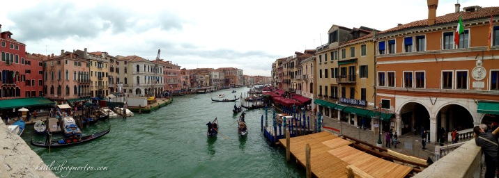 The view of the Grand Canal, San Polo and San Marco sestiere from the Rialto Bridge.
