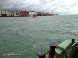Taking a vaporetto to Murano, an outlying island.