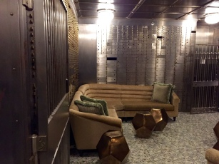 Inside the bank vault turned lounge.