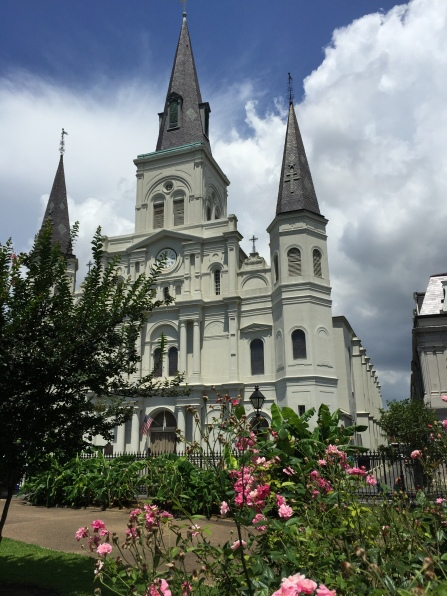 St. Louis Cathedral with gardens in the foreground.