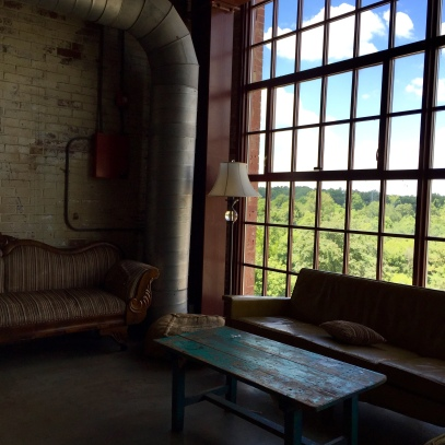 On the top floor of the Haw River Mill Ballroom and Cup 22 coffee shop.