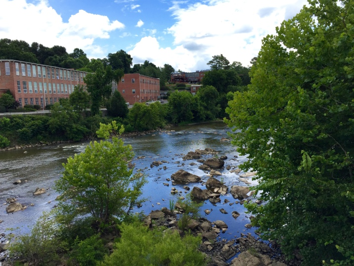 Looking towards the Rivermill from the Haw River.