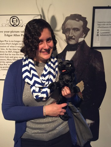 "Overcoming my fear of ""The Black Cat"" in this selfie with Poe's black cat and Poe himself. :)"